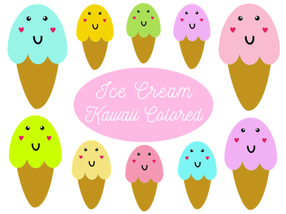 Kawaii Ice Cream Colored Graphic Illustrations By Happy Kiddos