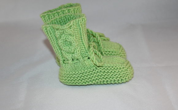 Knitting Pattern Baby Cabled Booties Graphic
