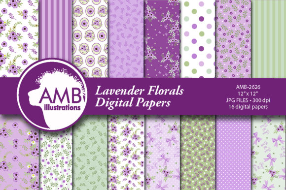 Lavender Floral Patterns Graphic Patterns By AMBillustrations