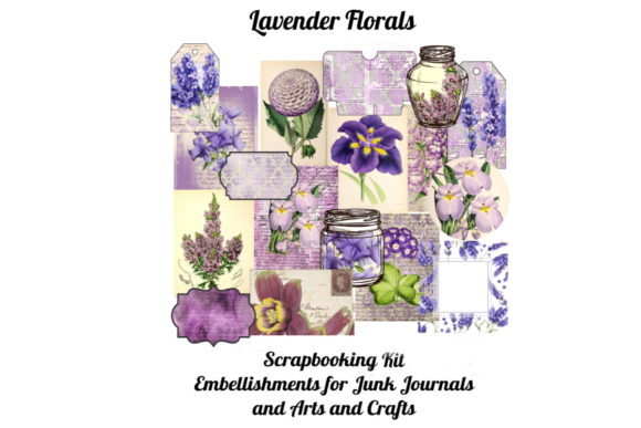 Print on Demand: Lavender Florals Printable Scrapbook Kit Graphic Illustrations By Scrapbook Attic Studio