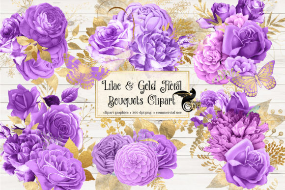 Lilac and Gold Floral Bouquets Clipart Graphic Illustrations By Digital Curio