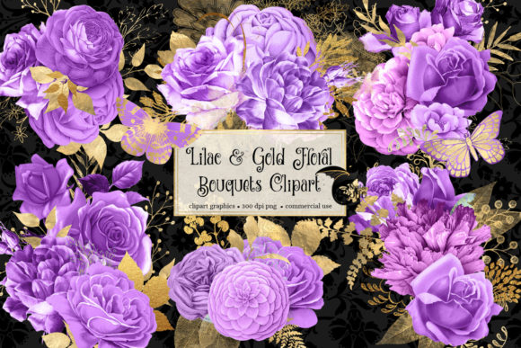 Print on Demand: Lilac and Gold Floral Bouquets Clipart Graphic Illustrations By Digital Curio - Image 2