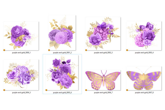 Print on Demand: Lilac and Gold Floral Bouquets Clipart Graphic Illustrations By Digital Curio - Image 3