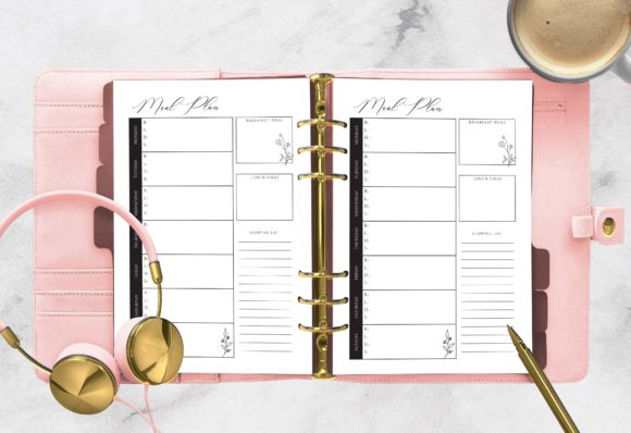 Print on Demand: Meal Planning Printable   A5 Planner Graphic Print Templates By planfantastic - Image 1