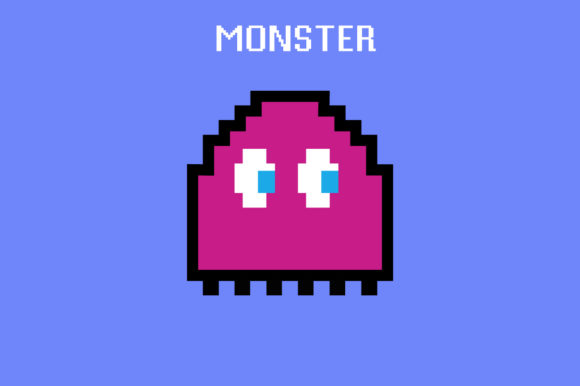 Download Free Monster Retro Pixel Digital Arcade Game Graphic By Frattaglia for Cricut Explore, Silhouette and other cutting machines.