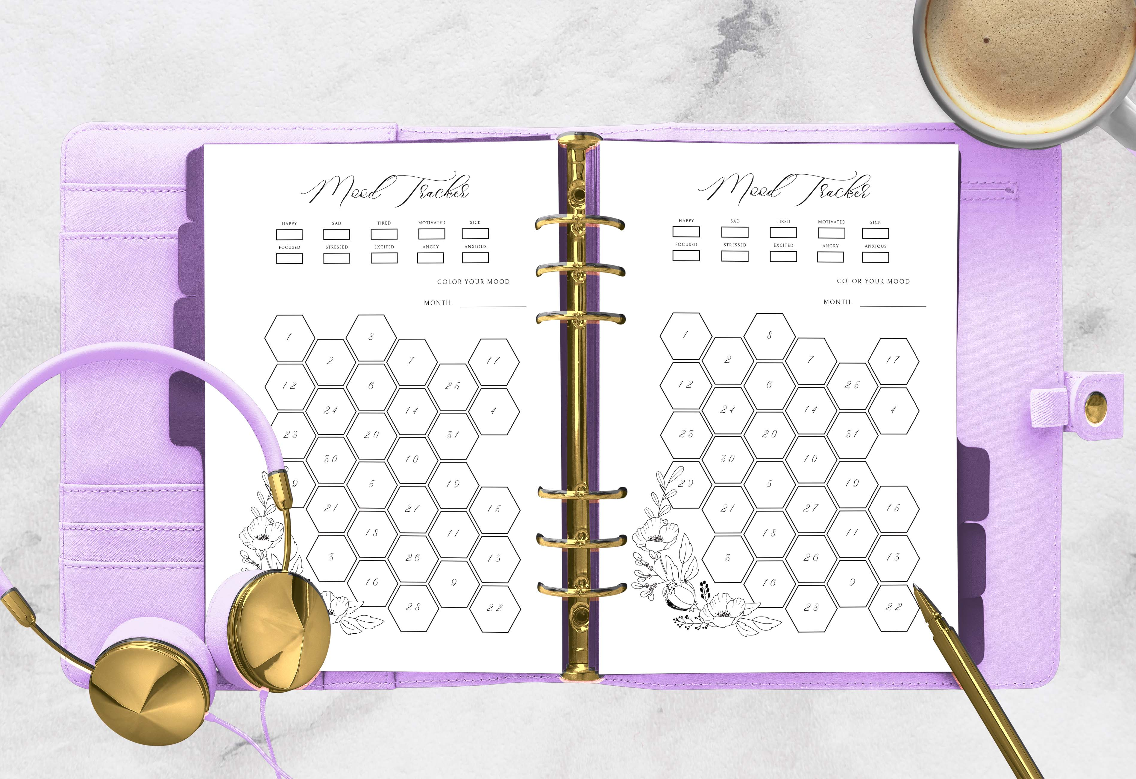 Download Free Mood Tracker Printable Planner To Color Graphic By Planfantastic for Cricut Explore, Silhouette and other cutting machines.