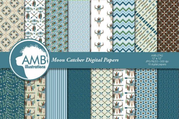 Moon Catcher in Teal Patterns Graphic Patterns By AMBillustrations