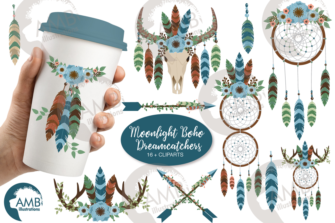 Download Free Moonlight Dreamcatcher Clipart Graphic By Ambillustrations for Cricut Explore, Silhouette and other cutting machines.