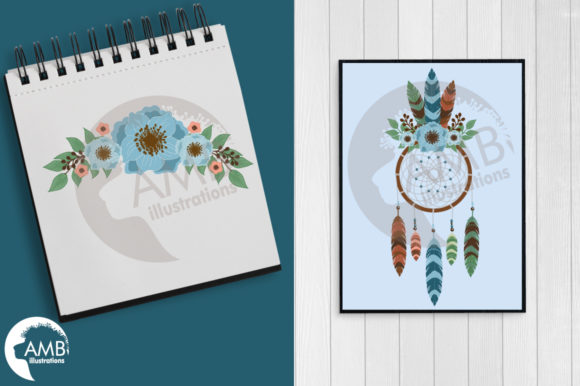 Moonlight Dreamcatcher Clipart Graphic Preview