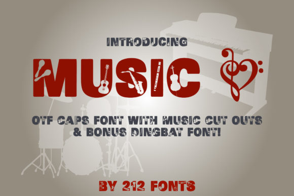 Print on Demand: Music Display Font By 212 Fonts