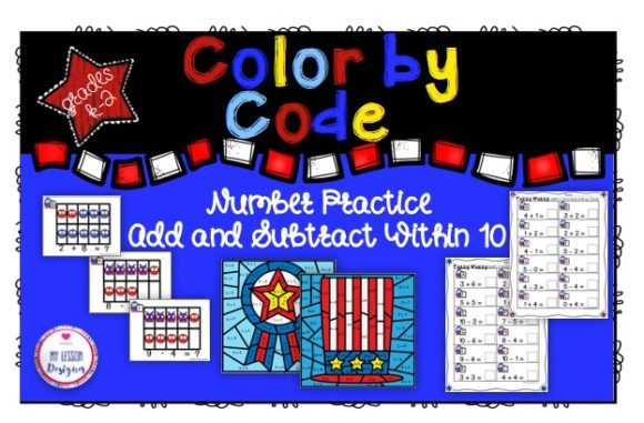 Number Practice - Add & Subtract Within 10 Graphic 1st grade By My Lesson Designer