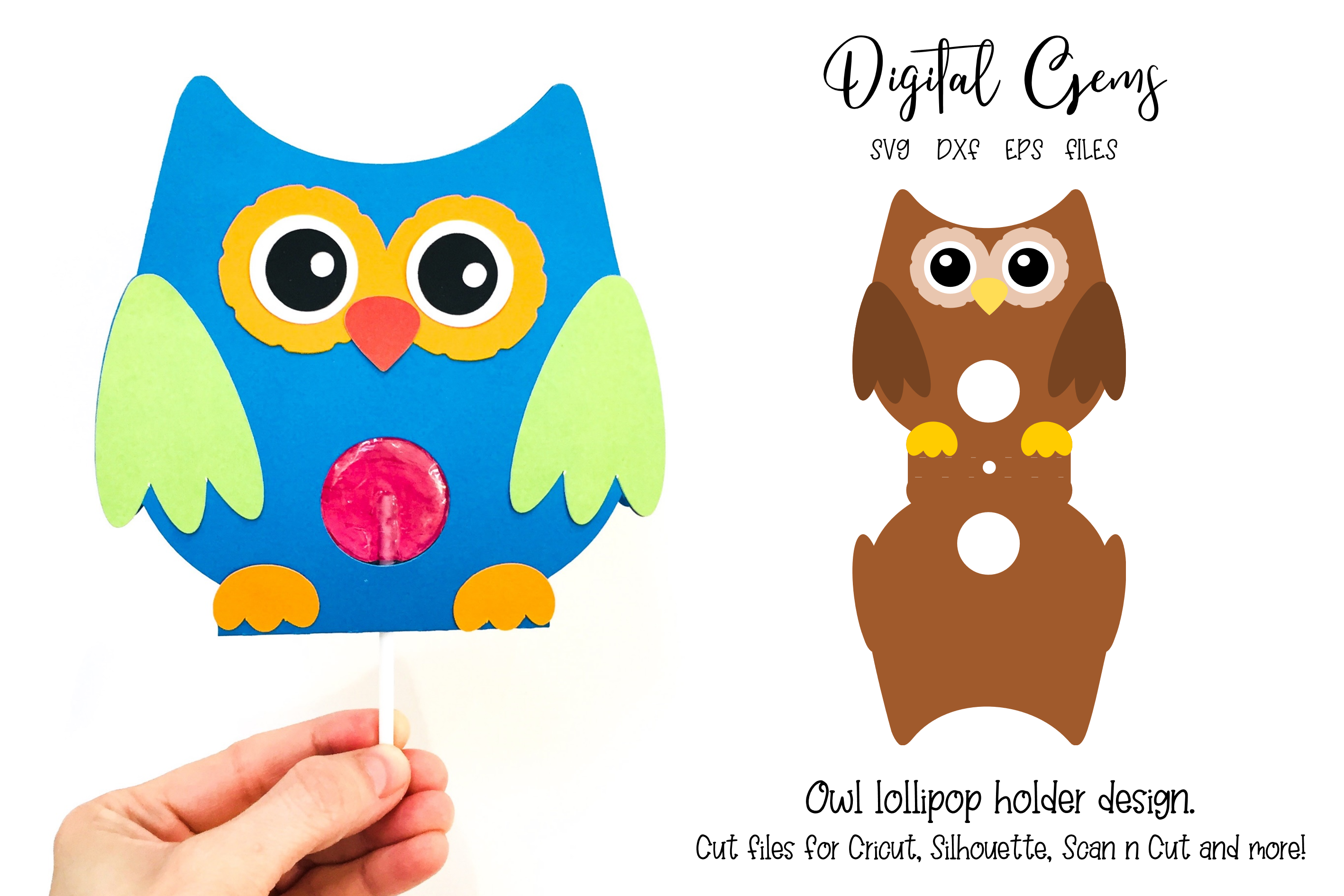 Download Free Owl Lollipop Holder Design Graphic By Digital Gems Creative for Cricut Explore, Silhouette and other cutting machines.