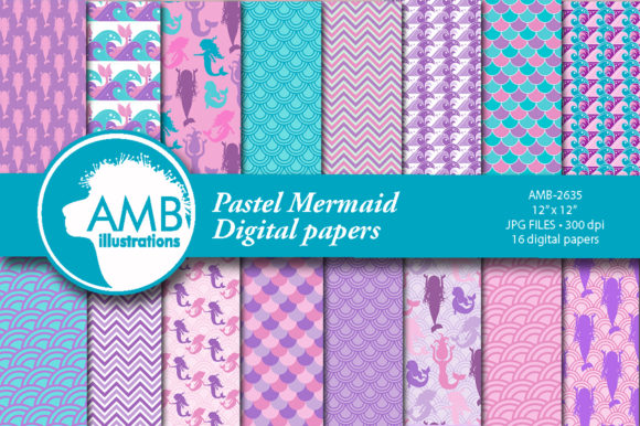 Pastel Mermaid Patterns Graphic Patterns By AMBillustrations