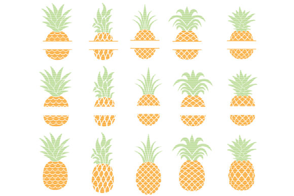 Download Free Pineapple Cut File Bundle Graphic By Meshaarts Creative Fabrica for Cricut Explore, Silhouette and other cutting machines.