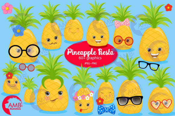 Pineapple Face Clipart (Graphic) by AMBillustrations ...