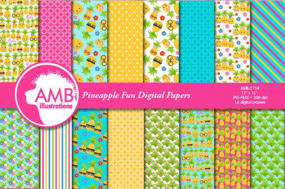 Pineapple Fun Patterns Graphic Patterns By AMBillustrations