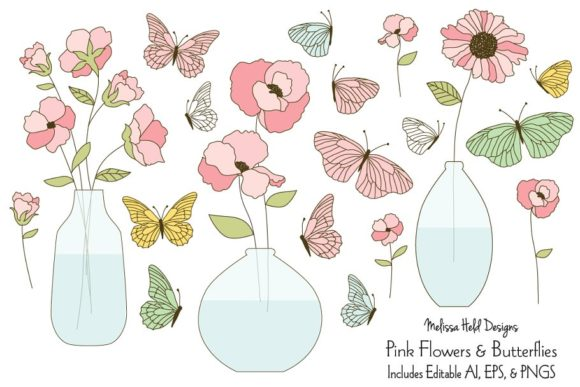 Pink Flowers and Butterflies Graphic Illustrations By Melissa Held Designs