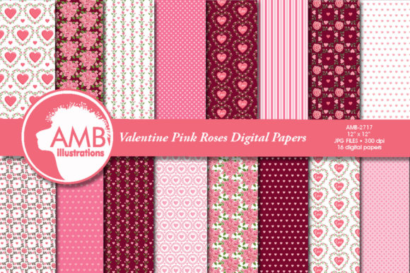 Pink Roses Patterns Graphic Patterns By AMBillustrations