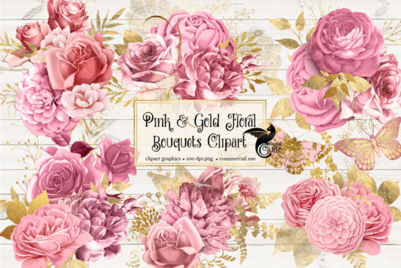 Print on Demand: Pink and Gold Floral Bouquets Clipart Graphic Illustrations By Digital Curio - Image 1