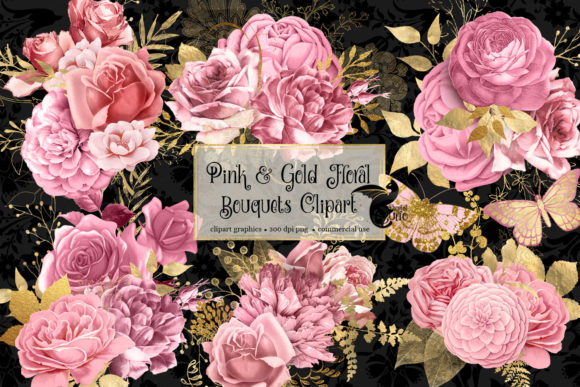 Print on Demand: Pink and Gold Floral Bouquets Clipart Graphic Illustrations By Digital Curio - Image 2
