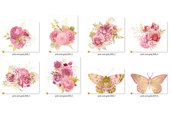 Print on Demand: Pink and Gold Floral Bouquets Clipart Graphic Illustrations By Digital Curio - Image 3