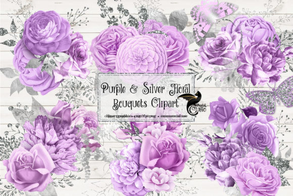 Print on Demand: Purple and Silver Floral Bouquets Clipar Gráfico Ilustraciones Por Digital Curio