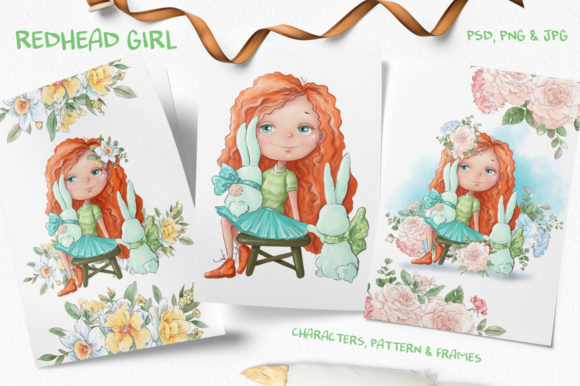 Print on Demand: Redhead Girl Graphic Illustrations By nicjulia - Image 1