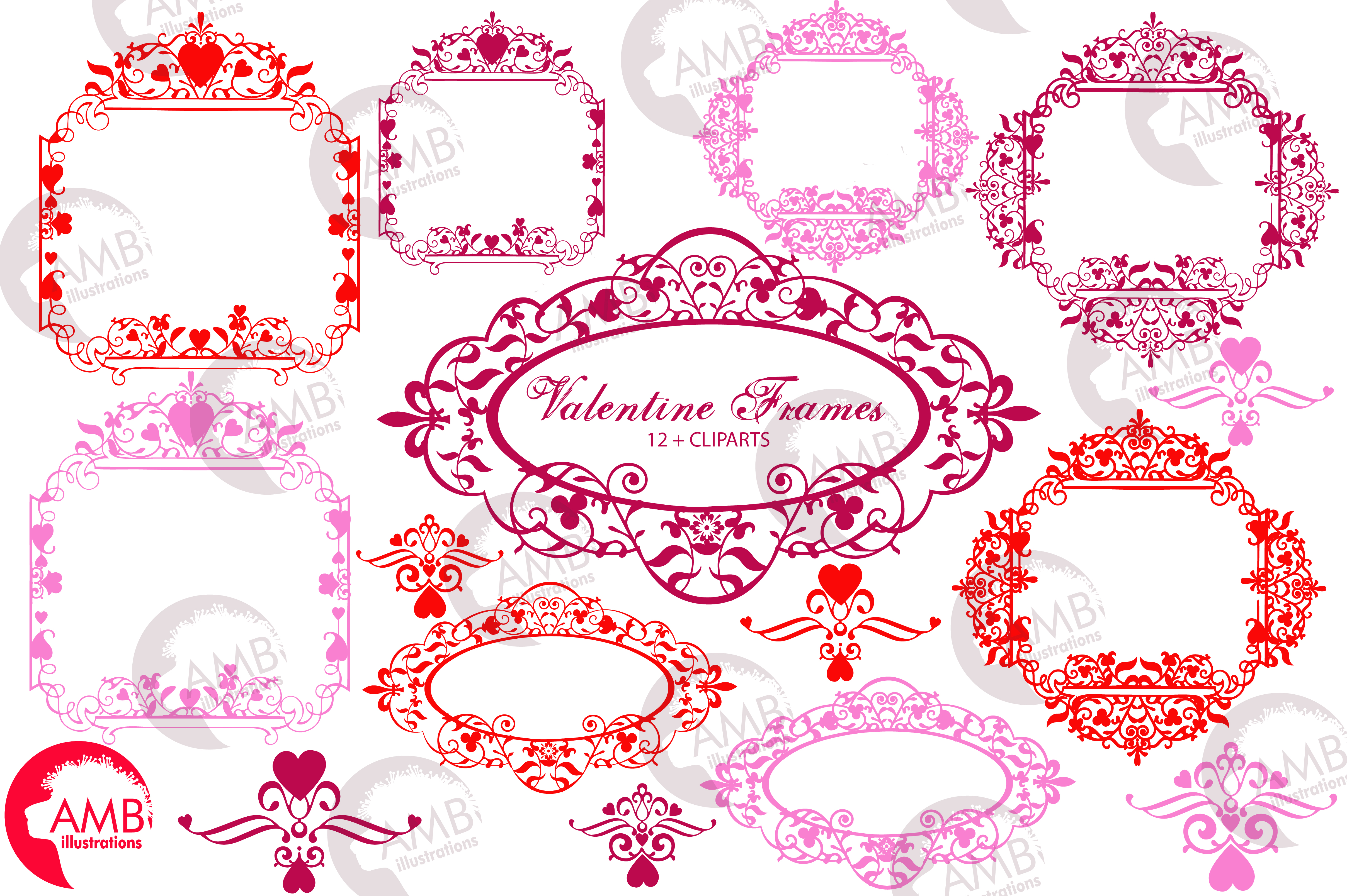 Download Free Romantic Valentines Frame Clipart Graphic By Ambillustrations Creative Fabrica for Cricut Explore, Silhouette and other cutting machines.