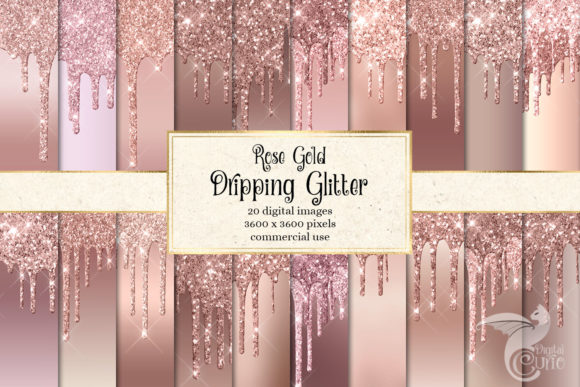 Print on Demand: Rose Gold Dripping Glitter Digital Paper Graphic Textures By Digital Curio - Image 1
