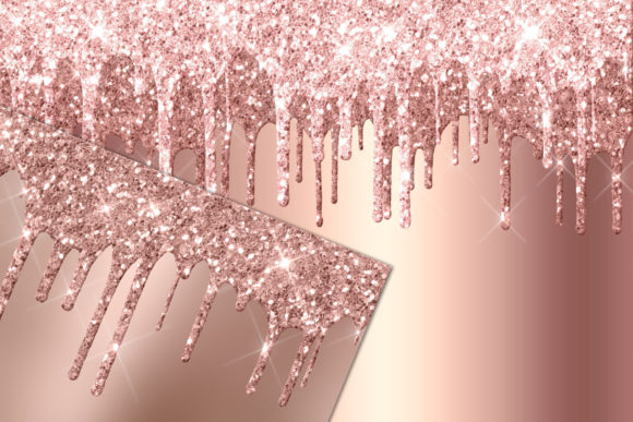 Download Free Rose Gold Dripping Glitter Digital Paper Graphic By Digital for Cricut Explore, Silhouette and other cutting machines.