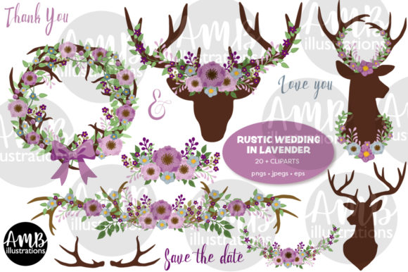 Rustic Antlers in Lavender Clipart Graphic Illustrations By AMBillustrations