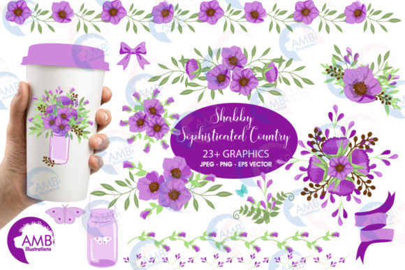 Shabby Chic Floral Clipart Graphic Illustrations By AMBillustrations