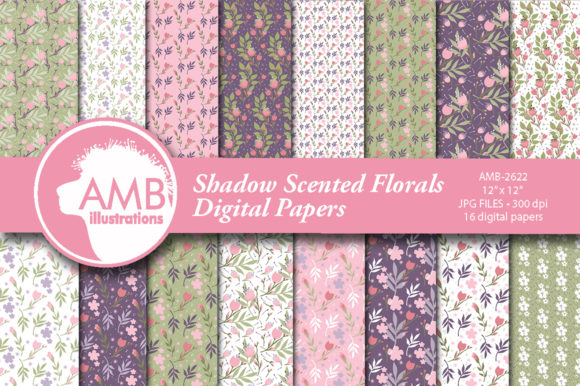 Shadow Scented Florals Patterns Graphic Patterns By AMBillustrations