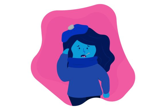 Download Free Sick Fever Cough Symptoms Blue Girl Graphic By Arausidp for Cricut Explore, Silhouette and other cutting machines.