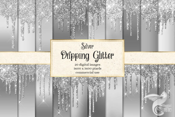Print on Demand: Silver Dripping Glitter Digital Paper Grafik Texturen von Digital Curio