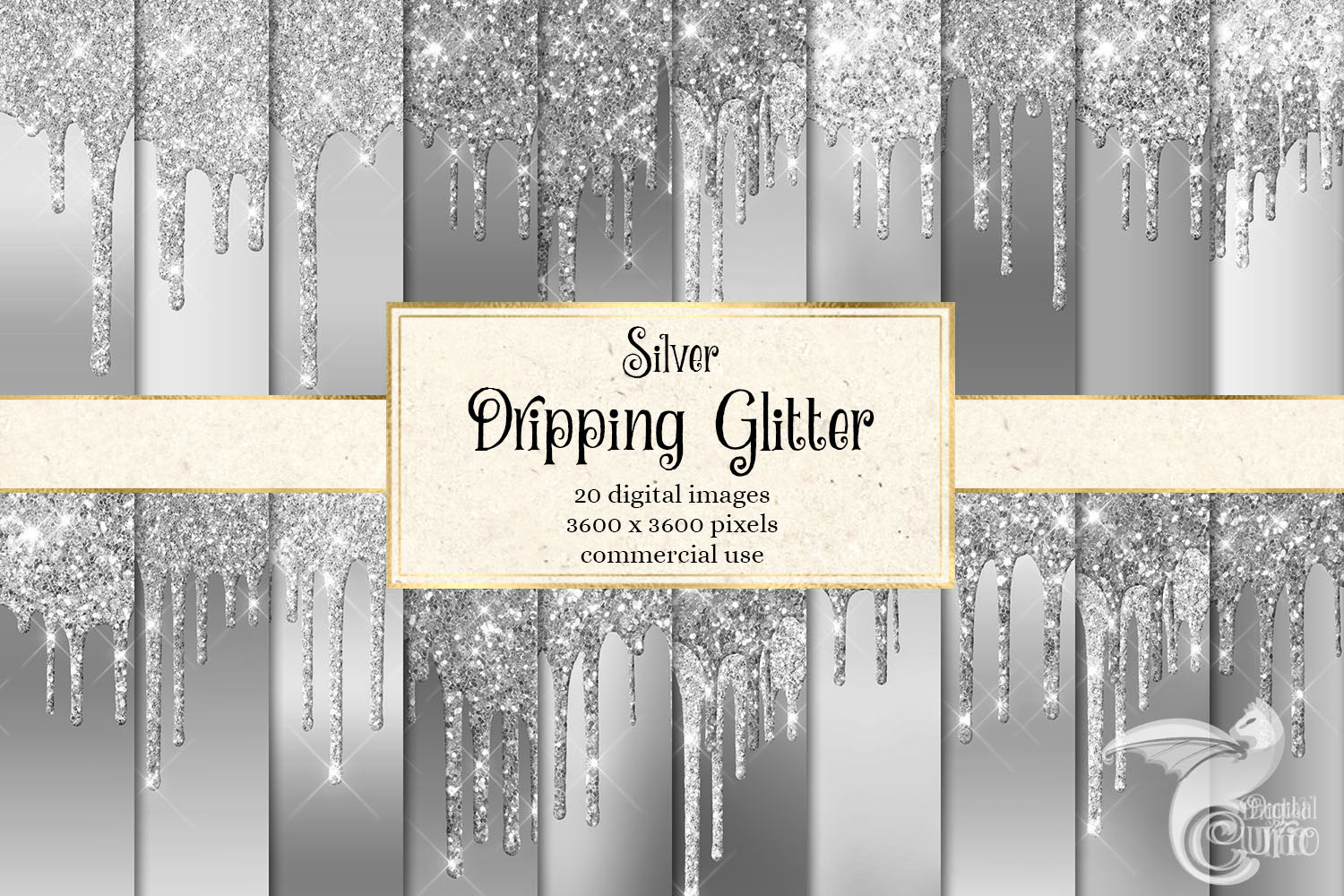 Download Free Silver Dripping Glitter Digital Paper Graphic By Digital Curio for Cricut Explore, Silhouette and other cutting machines.