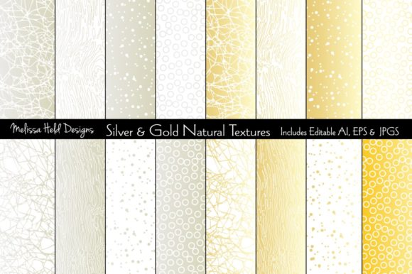 Silver & Gold Natural Textures Graphic Textures By Melissa Held Designs