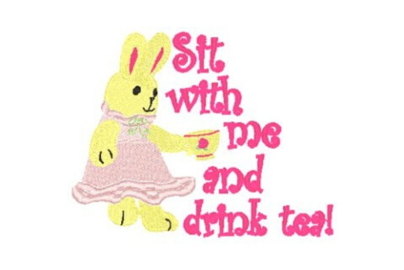 Sit with Me and Drink Tea Tea & Coffee Embroidery Design By Sookie Sews