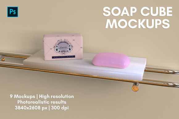 Soap Cube Mockups - 9 Views Graphic Product Mockups By illusiongraphicdesign