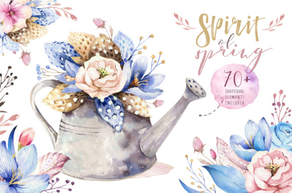 Spirit of Spring Watercolor Collection Graphic Illustrations By kristinakvilis