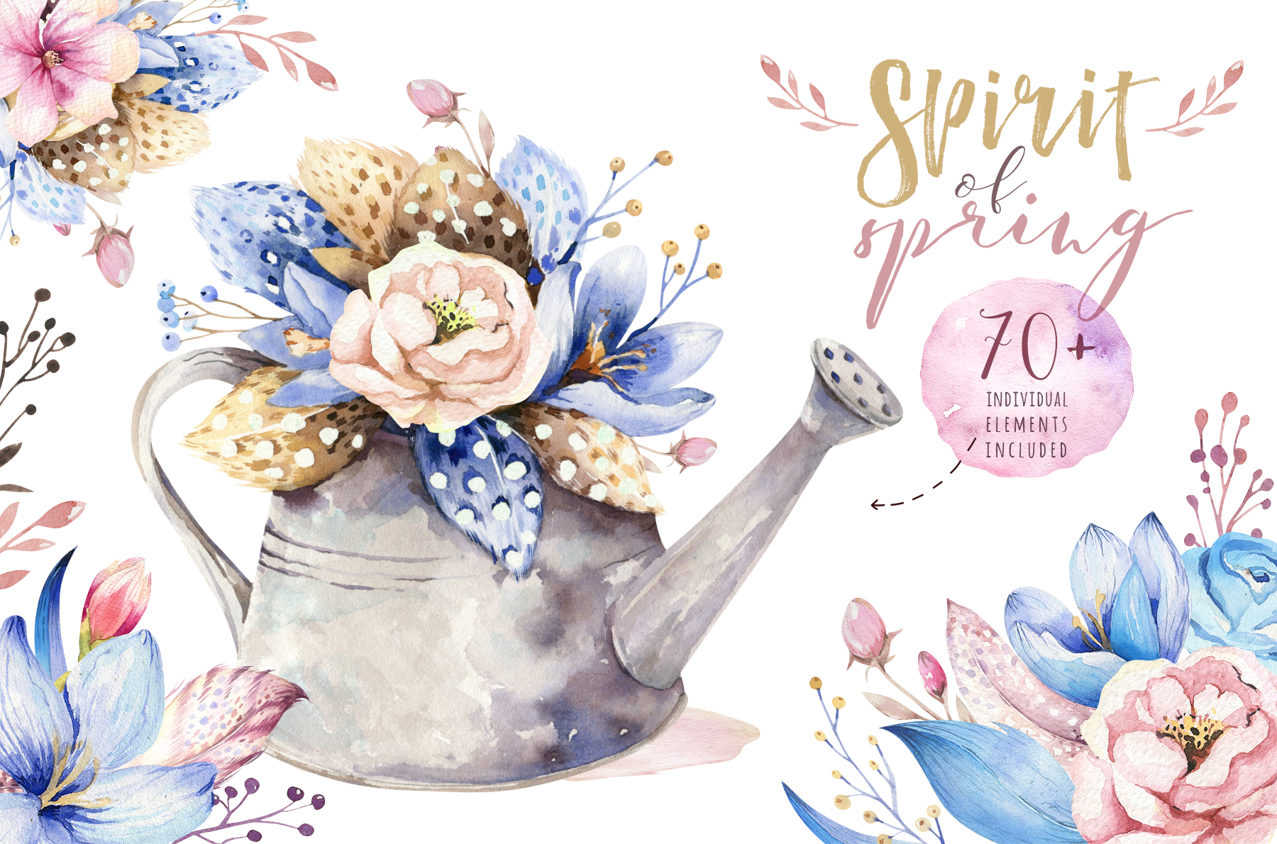 Download Free Spirit Of Spring Watercolor Collection Graphic By Kristinakvilis for Cricut Explore, Silhouette and other cutting machines.