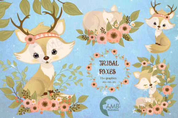 Spring Foxes Clipart Graphic Illustrations By AMBillustrations
