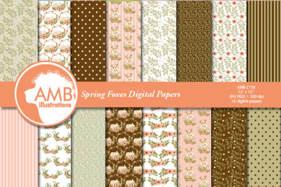 Spring Foxes Patterns Graphic Patterns By AMBillustrations