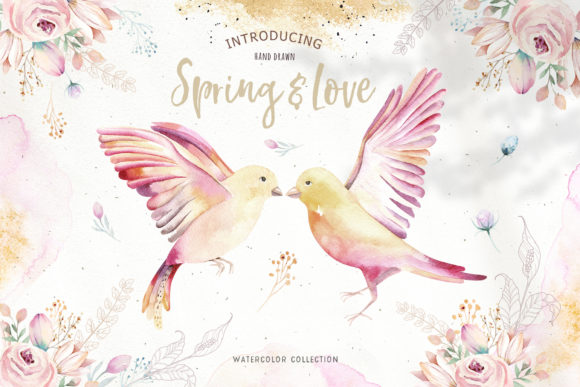 Spring & Love Watercolor Collection Graphic Illustrations By kristinakvilis