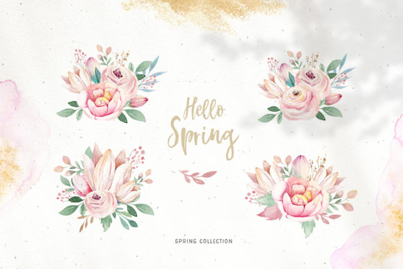 Spring & Love Watercolor Collection Graphic Illustrations By kristinakvilis - Image 5