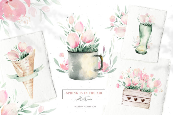 Spring is in the Air Collection Graphic Illustrations By kristinakvilis