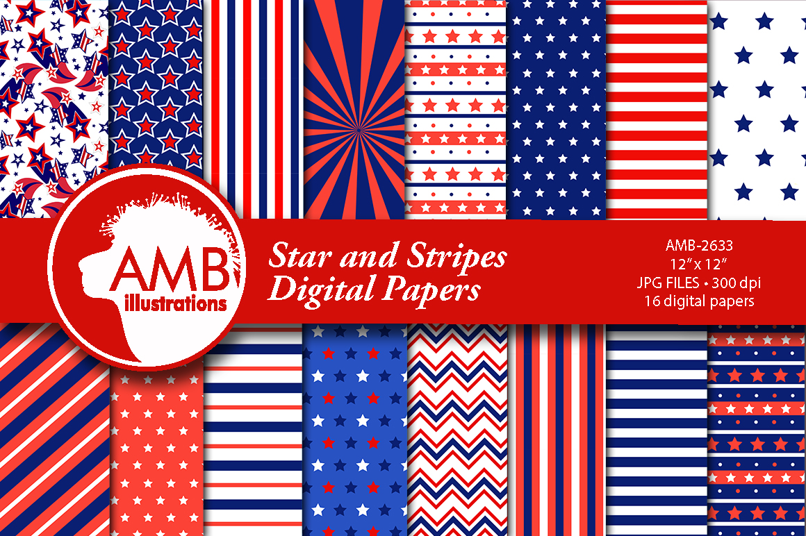 Download Free Stars And Stripes Patterns Grafik Von Ambillustrations Creative Fabrica for Cricut Explore, Silhouette and other cutting machines.