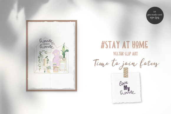 Stay at Home Keep Distance Graphic Illustrations By AnnArtHouze