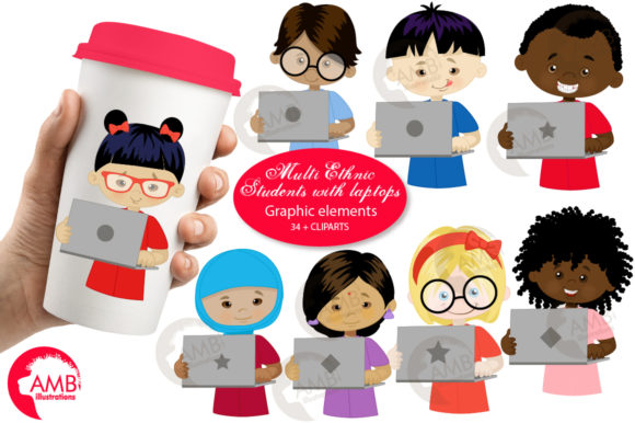 Download Free Students With Laptops Clipart Graphic By Ambillustrations for Cricut Explore, Silhouette and other cutting machines.