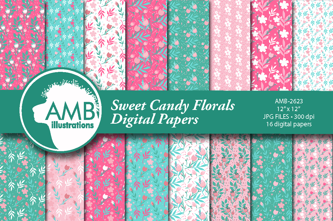 Download Free Sweet Candy Florals Patterns Grafik Von Ambillustrations for Cricut Explore, Silhouette and other cutting machines.